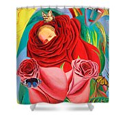 The Angel Of Roses Shower Curtain