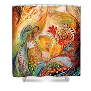 The Angels On Wedding Triptych - Left Side Shower Curtain