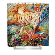 The Angels On Wedding Triptych - Right Side Shower Curtain