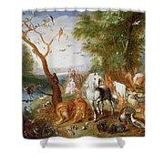 The Animals Entering Noahs Ark Panel Shower Curtain