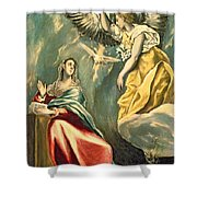 The Annunciation, C.1595-1600 Oil On Canvas Shower Curtain