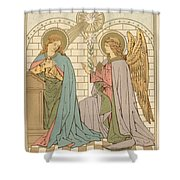 The Annunciation Of The Blessed Virgin Mary Shower Curtain by English School