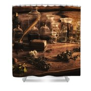 The Apothecary Shower Curtain by Priscilla Burgers