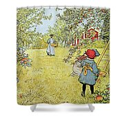 The Apple Harvest Shower Curtain by Carl Larsson