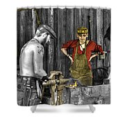 The Apprentice Blacksmith Armorer Shower Curtain