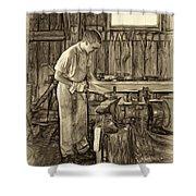 The Apprentice - Paint Sepia Shower Curtain