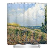 The Approaching Storm Shower Curtain by Camille Pissarro