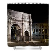 The Arch Of Constantine And The Colosseum At Night Shower Curtain
