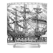 The Ark Raleigh The Flagship Of The English Fleet From Leisure Hour Shower Curtain