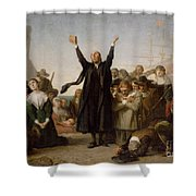 The Arrival Of The Pilgrim Fathers Shower Curtain