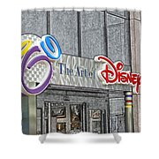 The Art Of Disney Signage Selective Coloring Digital Art Shower Curtain