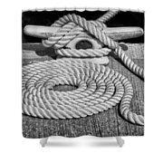 The Art Of Rope Lying Shower Curtain