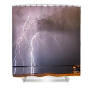 The Attack On Crystal Beach Shower Curtain