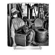The Aussie Dunny Can - Black And White Shower Curtain