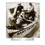 The Baby Flyer With Ed Ricketts And John Steinbeck  In Sea Of Cortez  1940 Shower Curtain