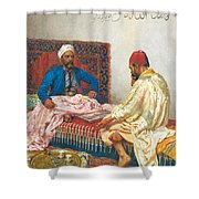 The Backgammon Players Shower Curtain