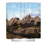 The Badlands In South Dakota Oil Painting Shower Curtain