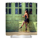 The Ballerina And The Green Doors Shower Curtain