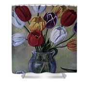 The Banker's Tulips Shower Curtain