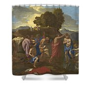 The Baptism Of Christ Shower Curtain by Nicolas Poussin