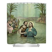 The Baptism Of Jesus Christ Circa 1893 Shower Curtain by Aged Pixel