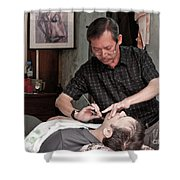 The Barber Shaves Another Customer 02 Shower Curtain