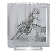 The Barrel Racer Shower Curtain