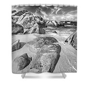 The Baths In Black And White Shower Curtain