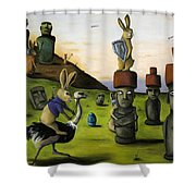 The Battle Over Easter Island Shower Curtain by Leah Saulnier The Painting Maniac