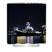 The Battleship New Jersey At Night Shower Curtain