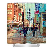 The Bay Department Store Downtown Montreal University And St Catherine Winter City Scene C Spandau  Shower Curtain