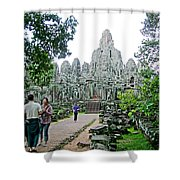 The Bayon In Angkor Thom In Angkor Wat Archeological Park-cambodia Shower Curtain
