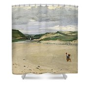 The Beach At Ambleteuse, 1869 Oil On Canvas Shower Curtain