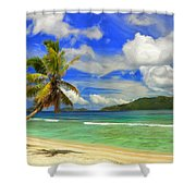 The Beach At Anse Gaulettes Shower Curtain