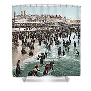 The Beach At Atlantic City 1902 Shower Curtain