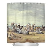 The Beach At Trouville, 1873 Shower Curtain