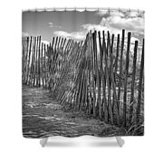 The Beach Fence Shower Curtain by Scott Norris