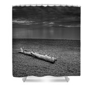 The Beach In Black And White Shower Curtain