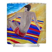 The Beach Towel Shower Curtain by Donna Blackhall