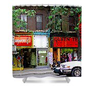 The Beadery Craft Shop  Queen Textiles Fabric Store Downtown Toronto City Scene Paintings Cspandau  Shower Curtain
