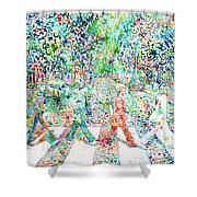 The Beatles - Abbey Road - Watercolor Painting Shower Curtain