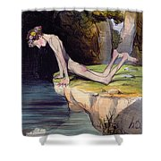 The Beautiful Narcissus Shower Curtain by Honore Daumier