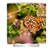 The Bee And The Butterfly Shower Curtain