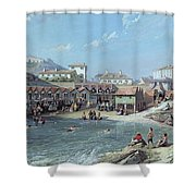 The Beginning Of Sea Swimming In The Old Port Of Biarritz  Shower Curtain