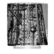 The Bells Of Coney Island In Black And White Shower Curtain