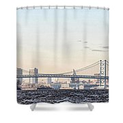 The Ben Franklin Bridge From Penn Treaty Park Shower Curtain