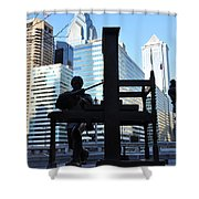 The Ben Franklin Printing Press Statue Shower Curtain