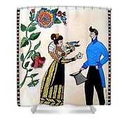 The Betrothal-folk Art Shower Curtain