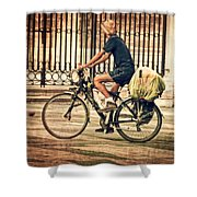 The Bicycle Rider - Leon Spain Shower Curtain