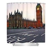 The Big Ben Bus Lane - London Shower Curtain